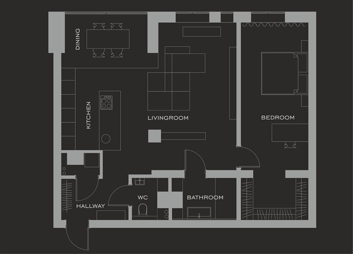 80 sq meter home floor plan gray