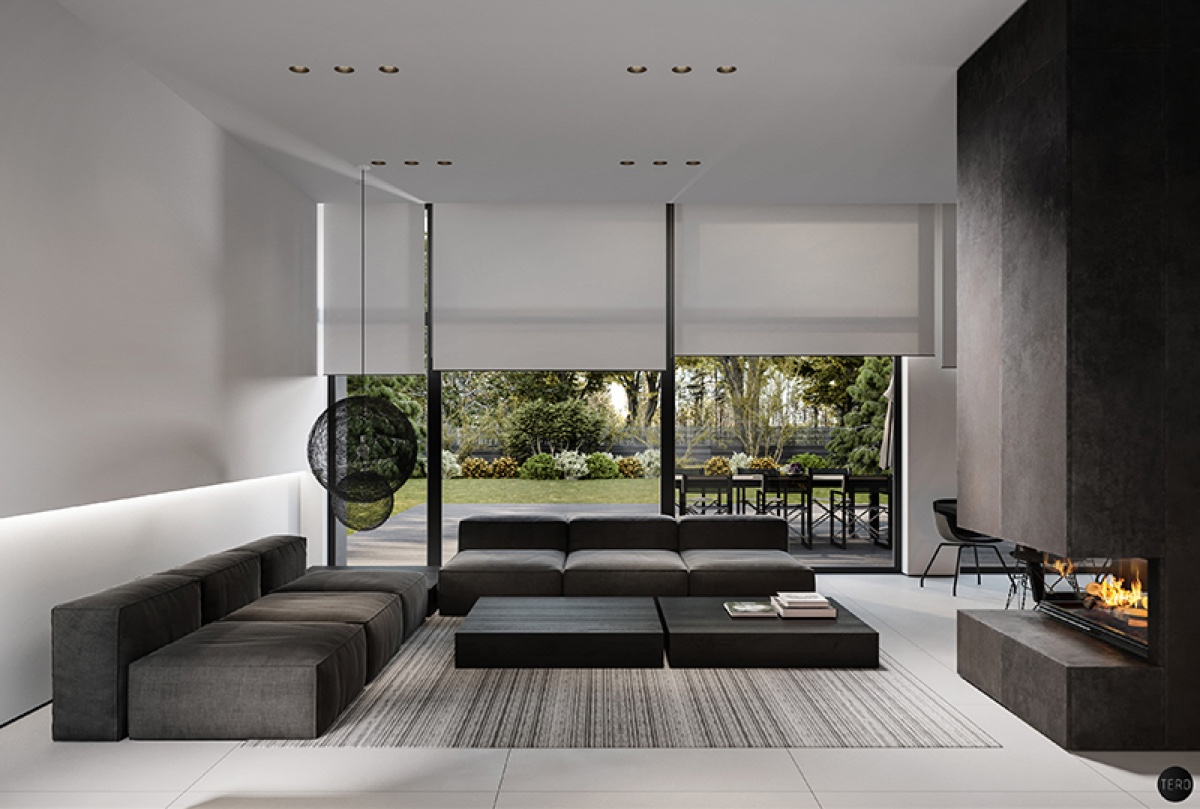 Dmitry Tereshchuk's house design in Olsztyn, Poland, uses large, wide surfaces to effect, with woven materials taking centre stage. In the lounge, two orbs hang in the corner, while a woven carpet ties black, white and grey together.