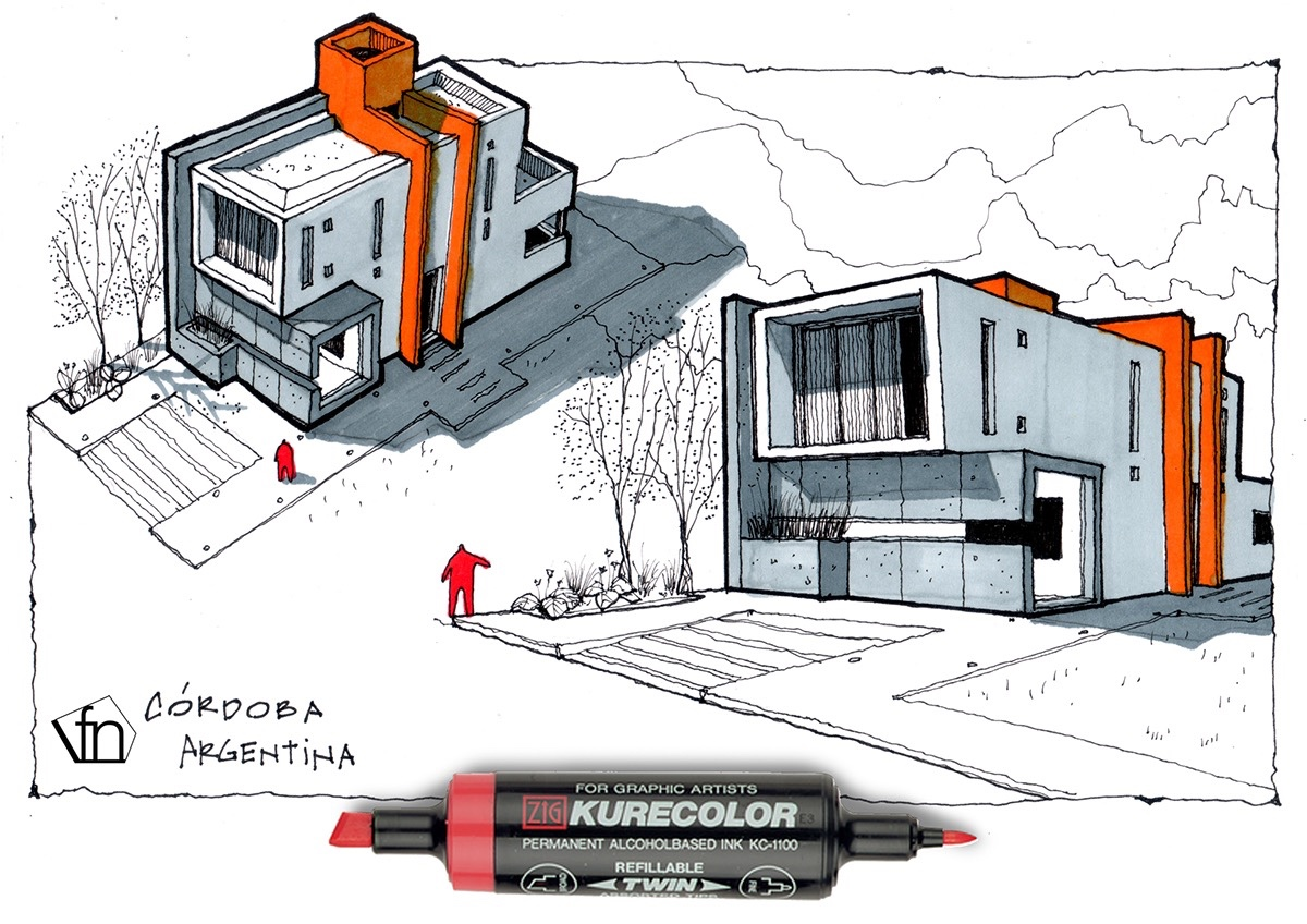 Architectural flow surrealist home illustrations by neyra for Croquis de casas