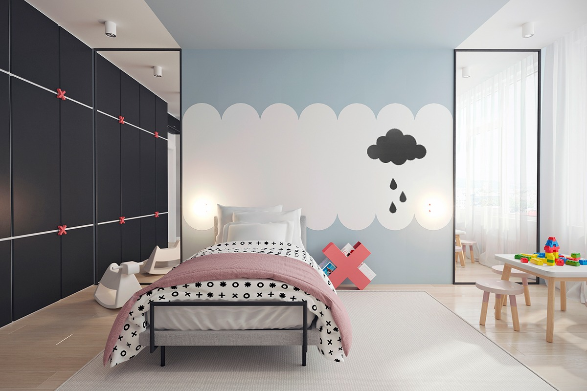 The cloud theme is also carried across the bedrooms. While the master bedroom only hints at the cloud metaphor, the child's bedroom is more overt, with painted clouds handing above sleeping heads. 'X' motifs are the feature star in this room, and are replicated across detailing along the wide wall, bedside table and duvet, still linked to the remainder of the home through light stencilling detail appropriate for a child's bedroom. Pinky, terracotta themes add character and softness to this room, and are easily replicated in the ensuite, which adds a touch of the same hue to a side wall, resembling the painting in the television room.