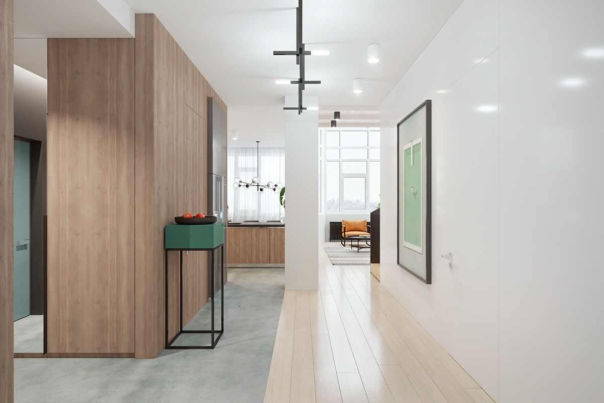 To offer a breath between each space, the hallway is shown in muted tones, with a green vertical table referencing the dramatic colours of the preceding room.
