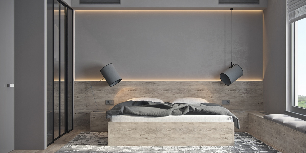 Bedroom Large Pendents Mirrored Closet - Beautiful modern minimalist loft with a view