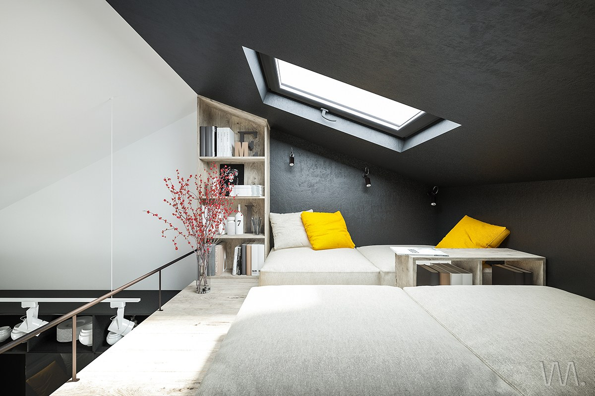 Small homes that use lofts to gain more floor space for Bedroom skylight