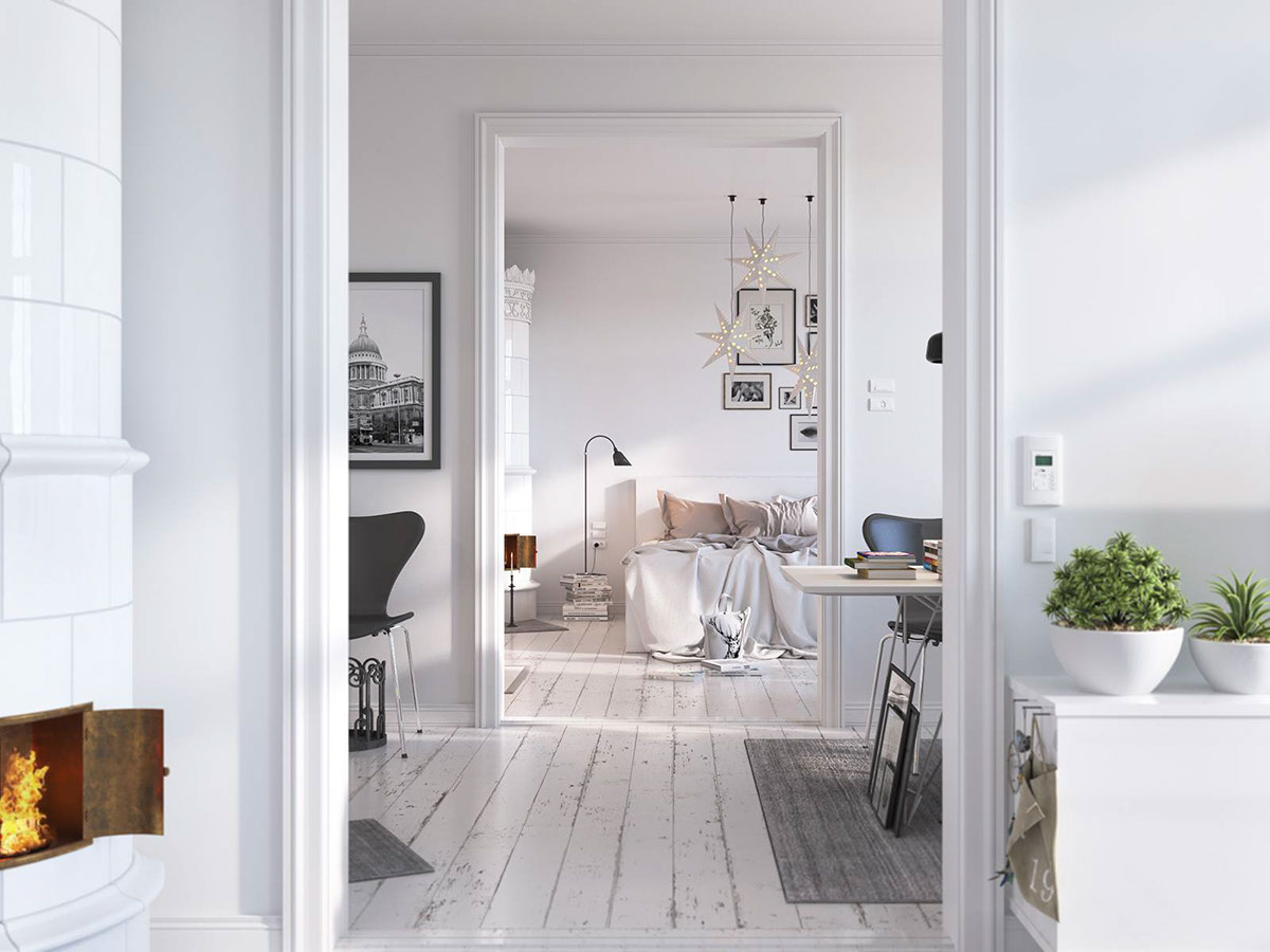 Bedroom With Traditional Scandinavian Ceramic Stove - Bright scandinavian decor in 3 small one bedroom apartments