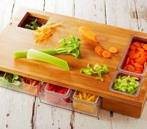 Bamboo Cutting Board With Storage: Storage cutting boards grow more popular all the time, and this is probably the most robust one we've seen yet. Keep your fruits and veggies separated and tidy! Two of the containers include sealed lids for freshness.