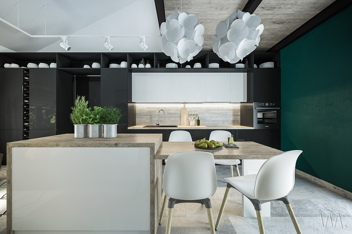 Black And Forest Green Kitchen