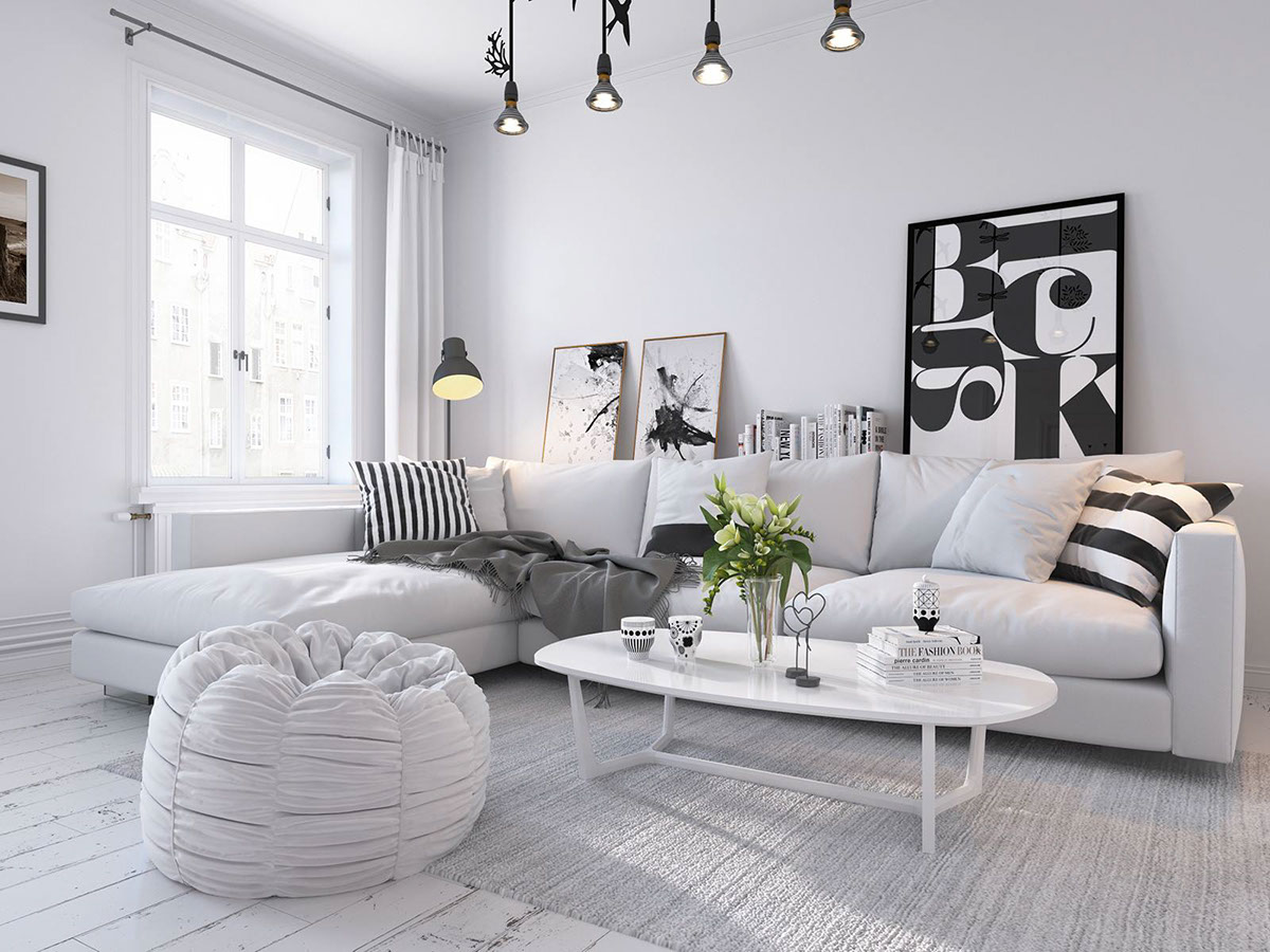 Bright scandinavian decor in 3 small one bedroom apartments for Zona living design