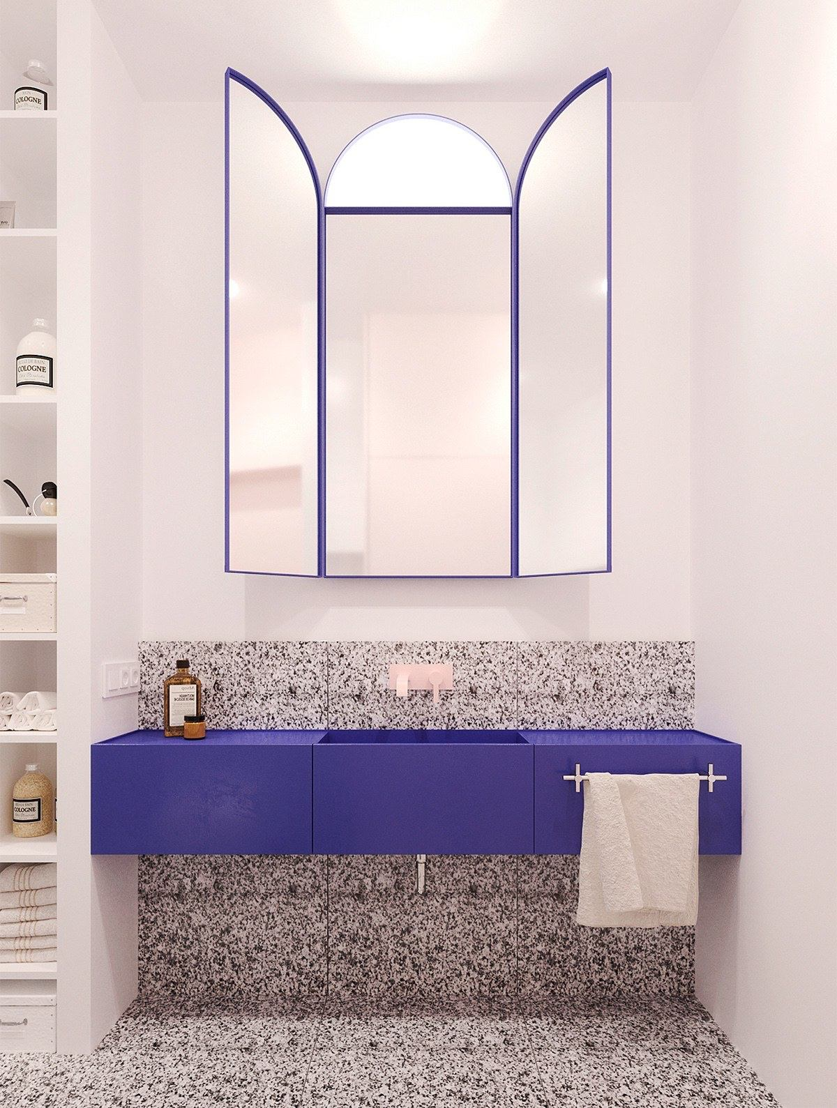 A Modern Take On Soviet Minimalism In Stylish Apartments   Blue And Pink  Bathroom Designs