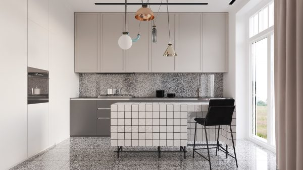 A single chair fits within a perfect niche sunken into the tiled kitchen island it may accommodate breakfast for one or alternatively