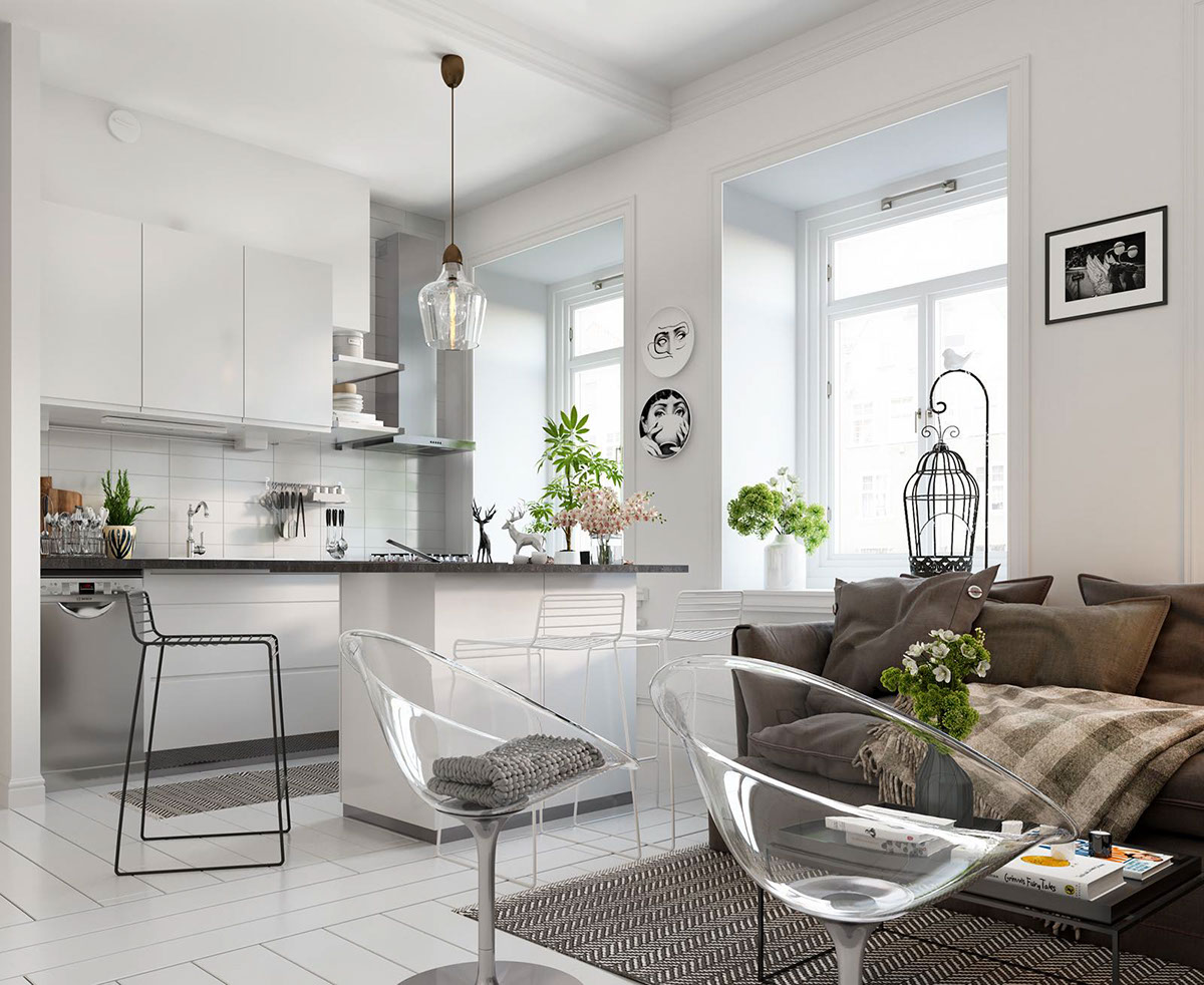 Bright scandinavian decor in 3 small one bedroom apartments for Small apartments
