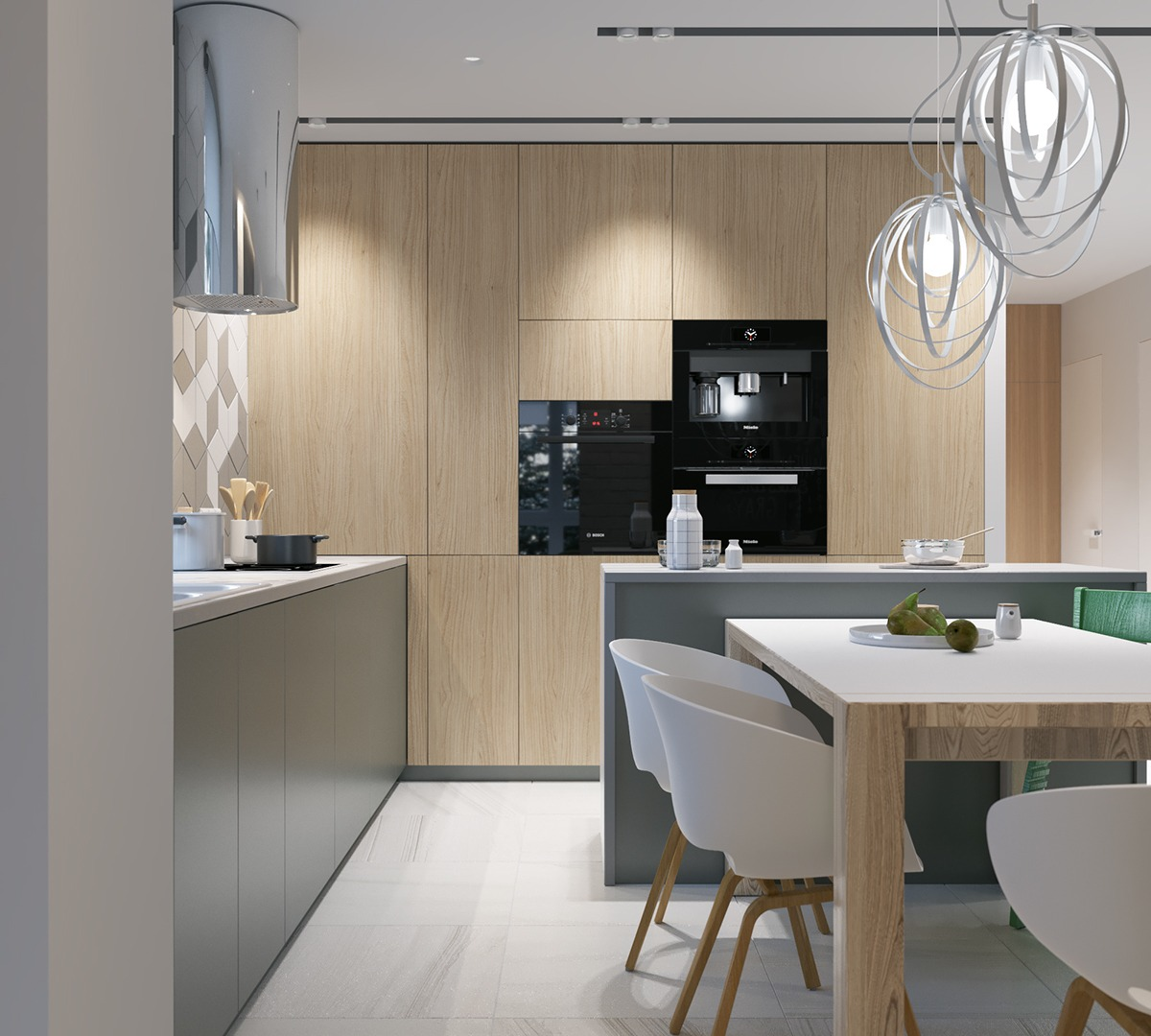 Built In Appliances Wooden Cabinets - 2 stunningly beautiful homes decorated in modern scandinavian style