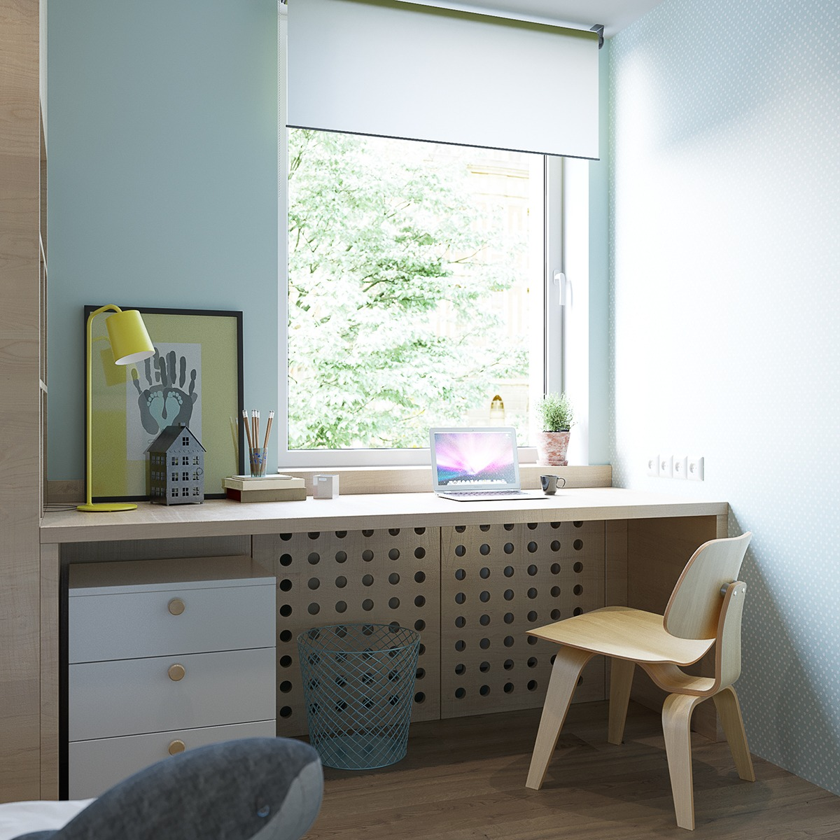 Builtin Desk Workspace Children Room Cabinets - 2 stunningly beautiful homes decorated in modern scandinavian style