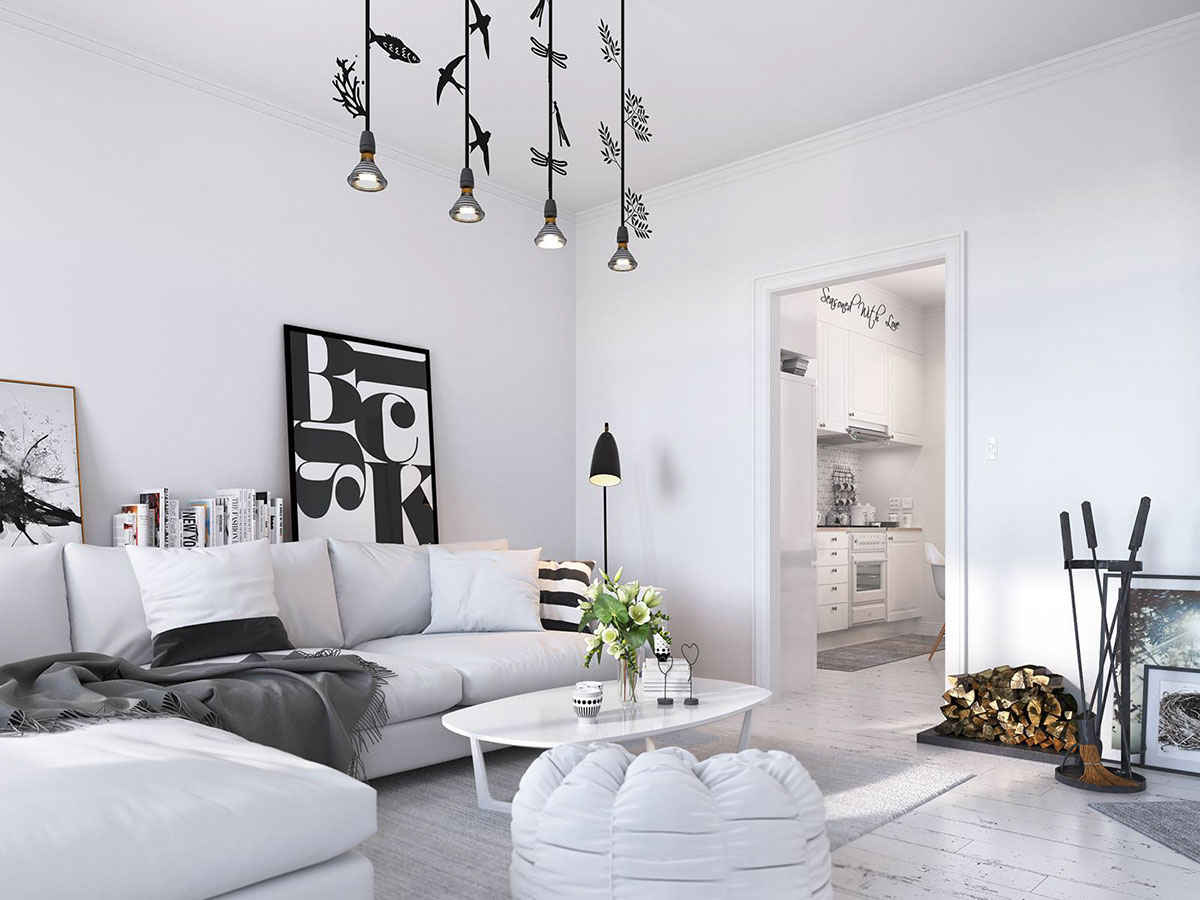 Butterfly Bird And Forest Pendant Lights - Bright scandinavian decor in 3 small one bedroom apartments