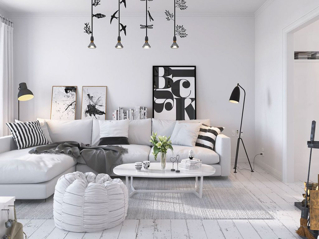 Bright scandinavian decor in 3 small one bedroom apartments for Interior design curtains
