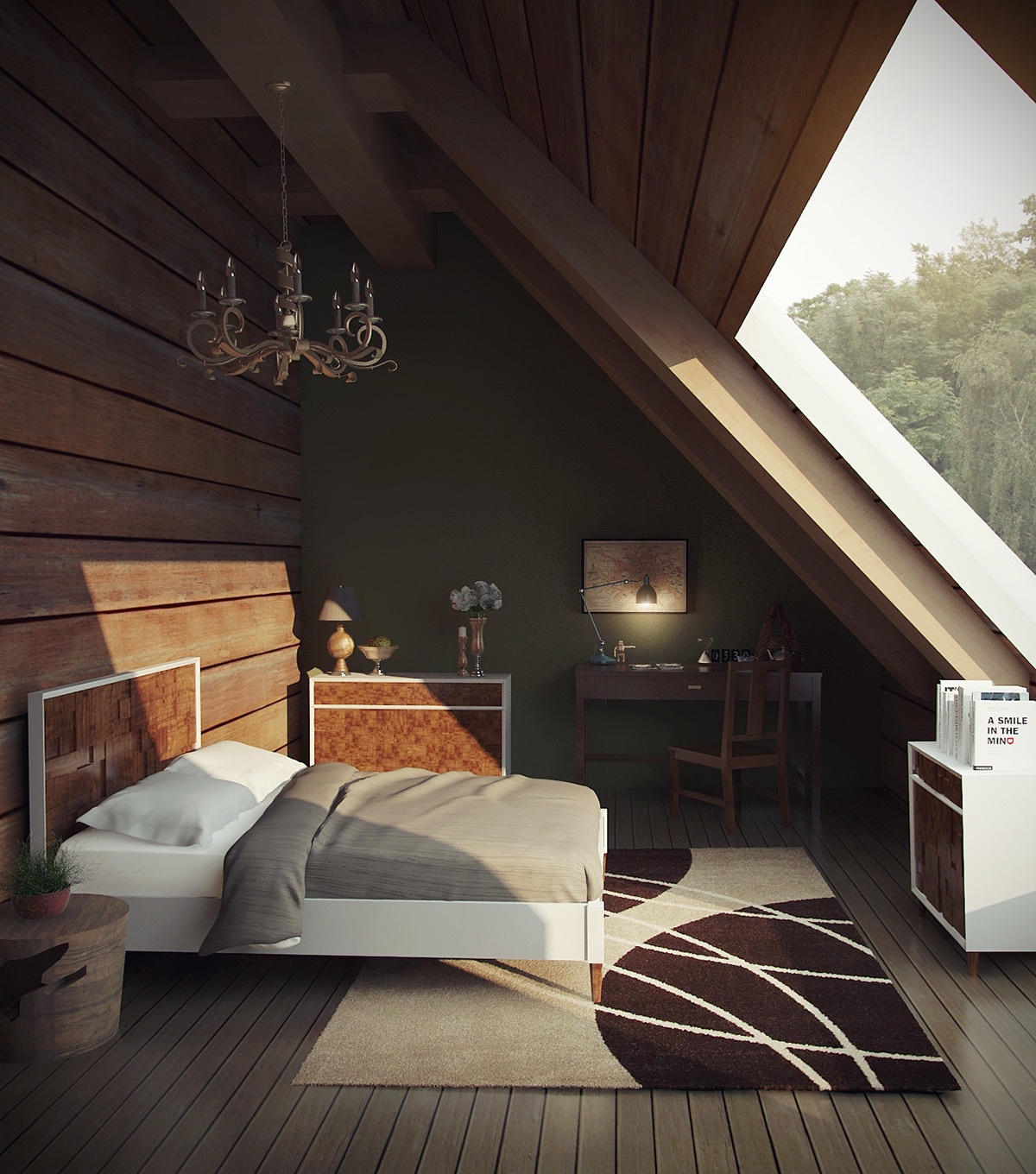 Chandelier Bedrrom Attic Wooden Wall Green Wall - 25 amazing attic bedrooms that you would absolutely enjoy sleeping in