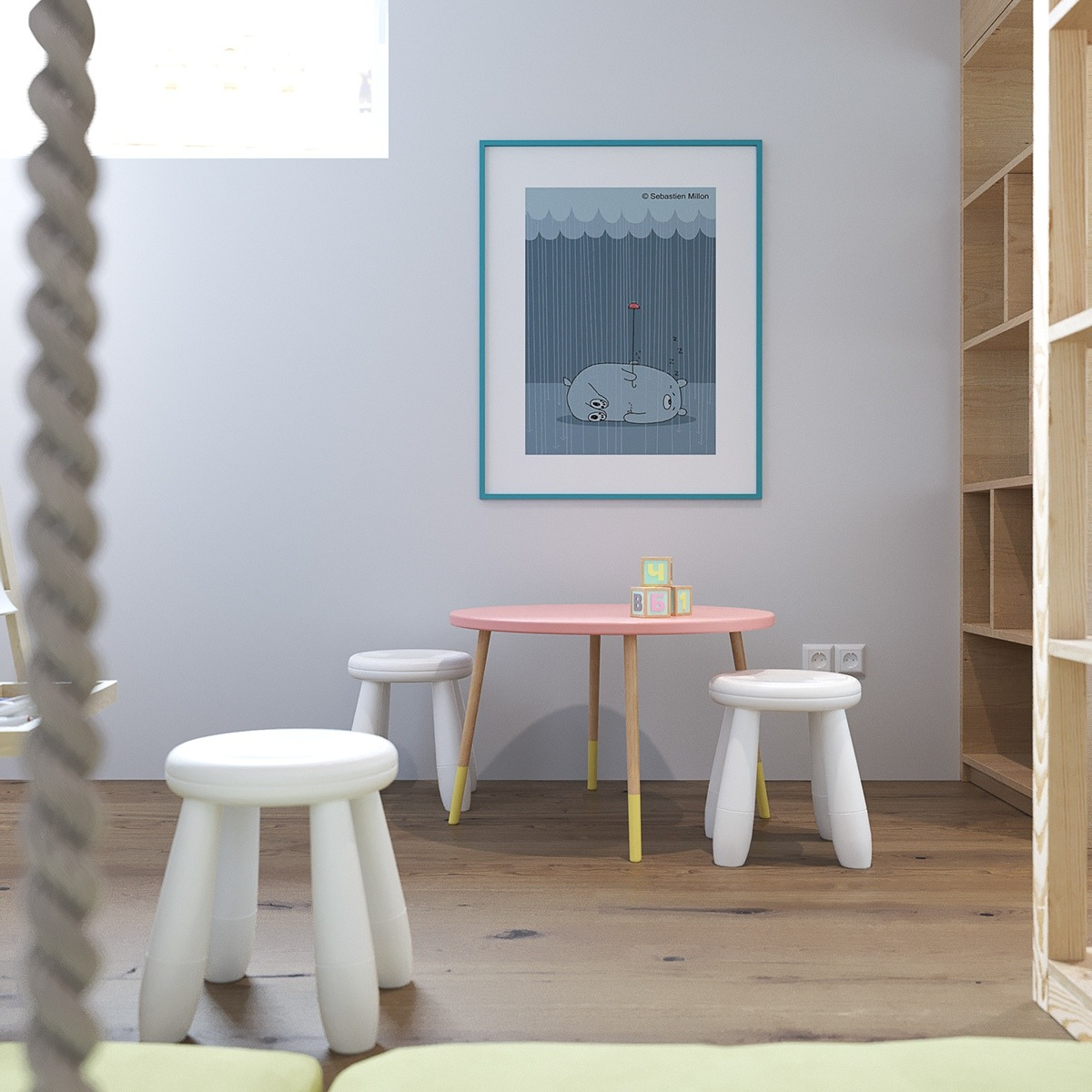 Childrens Playroom White Benches Wood Shelving - 2 stunningly beautiful homes decorated in modern scandinavian style