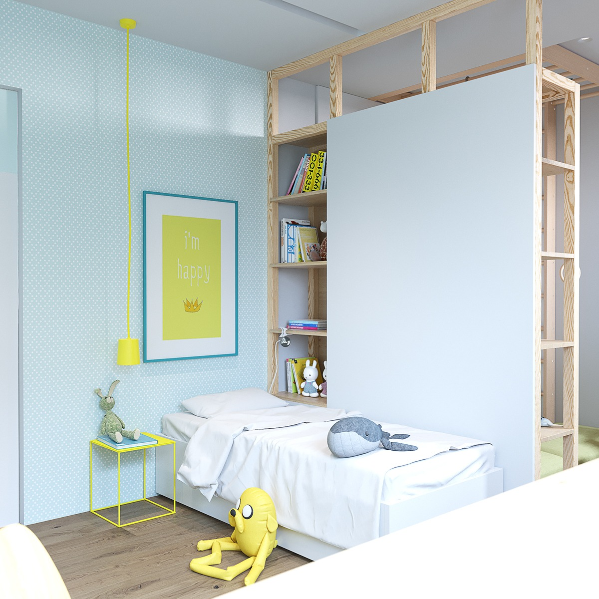 Childrens Room Yellow Art White Bedding - 2 stunningly beautiful homes decorated in modern scandinavian style