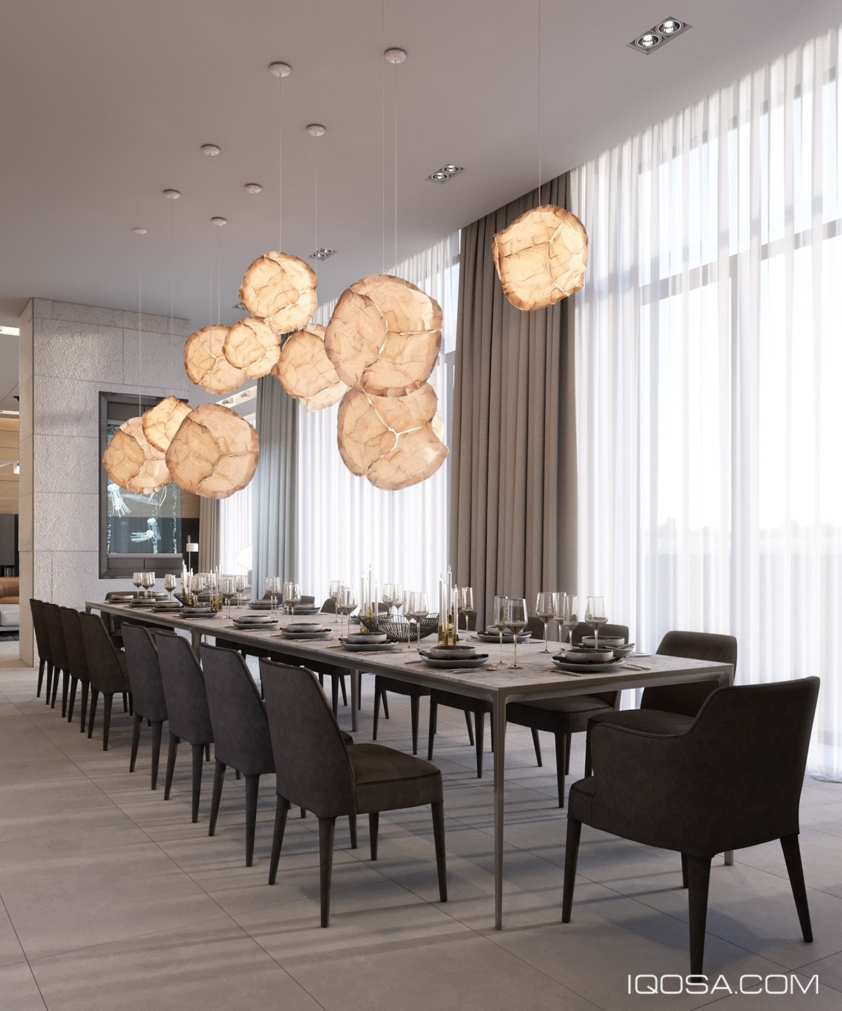 Cloud Pendant Lights Over Dining Table - A sophisticated home with natural themes outside of kiev