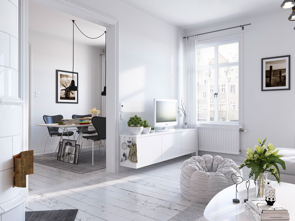 Creative One Bedroom Layout For Scandinavian Home - Bright scandinavian decor in 3 small one bedroom apartments