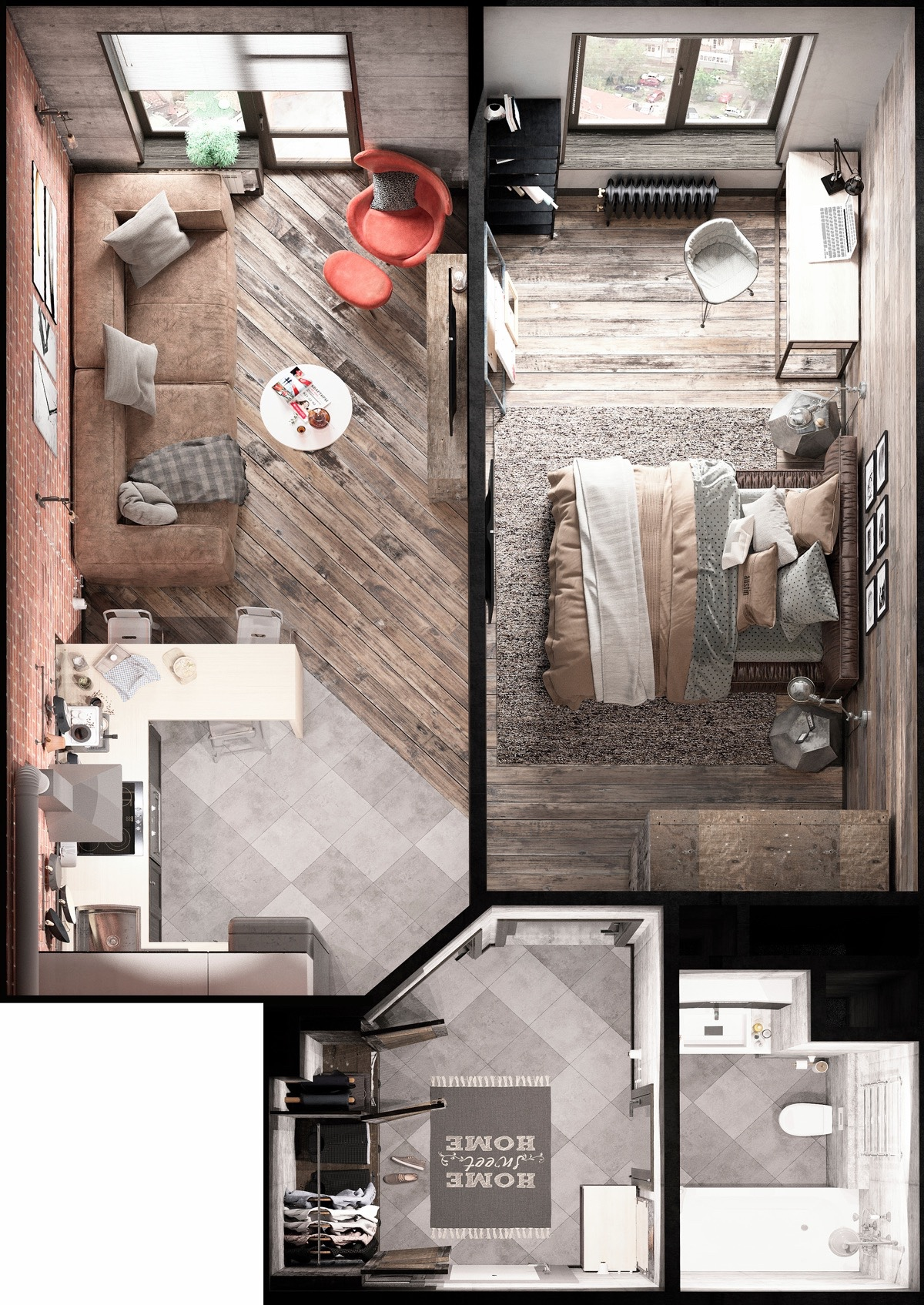 Bold decor in small spaces 3 homes under 50 square meters - Room layout planner free ...