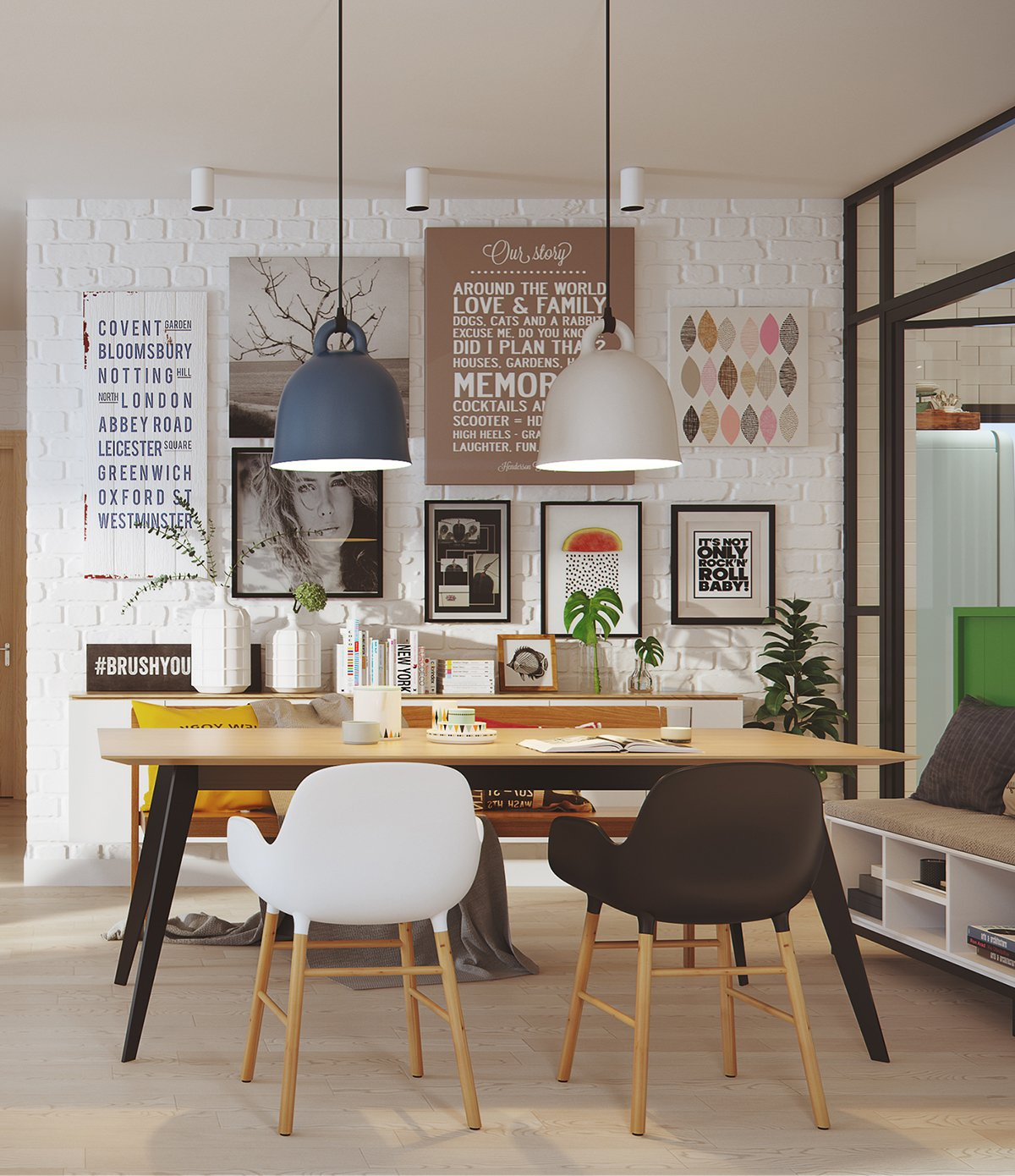 Dining Table Mix Matched Chairs White Brick - 2 stunningly beautiful homes decorated in modern scandinavian style