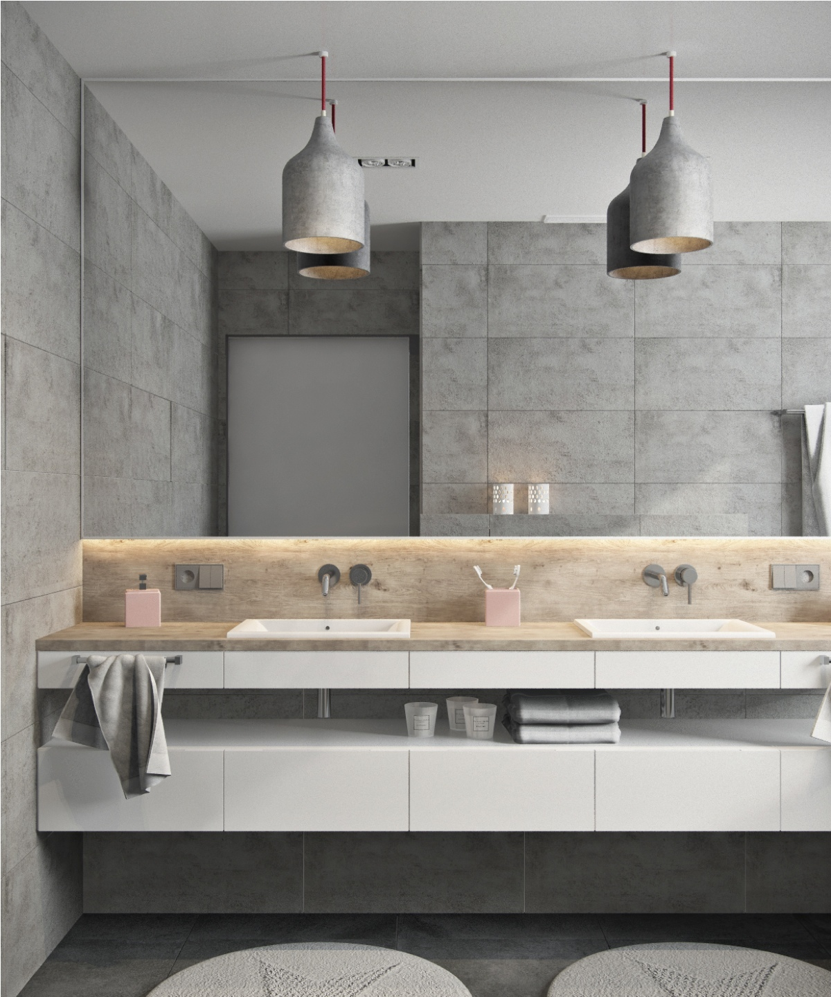 Double Sink Master Bath Marble Gray - Beautiful modern minimalist loft with a view