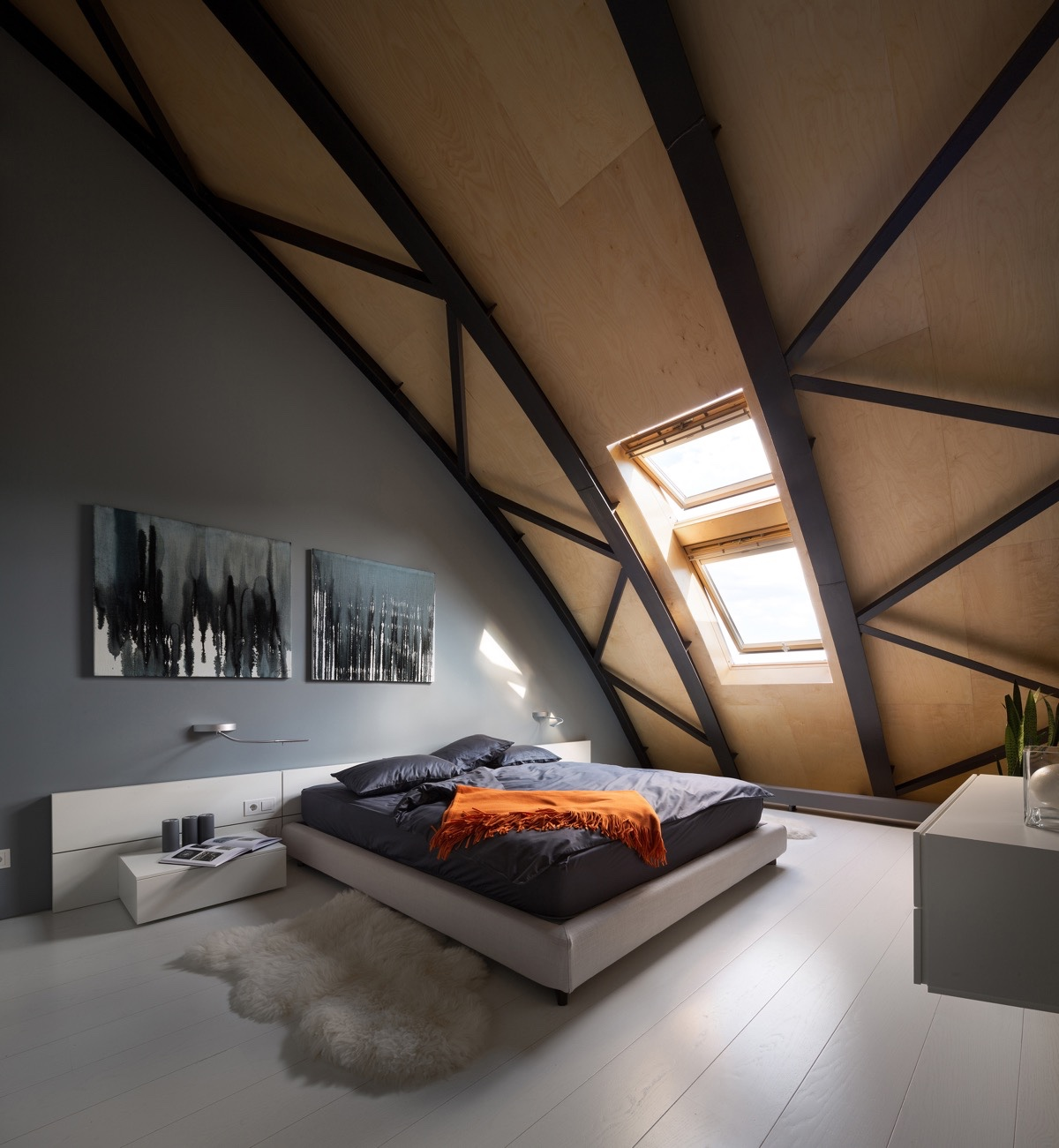 Dramatic Black And Gray Attic Bedroom - 25 amazing attic bedrooms that you would absolutely enjoy sleeping in