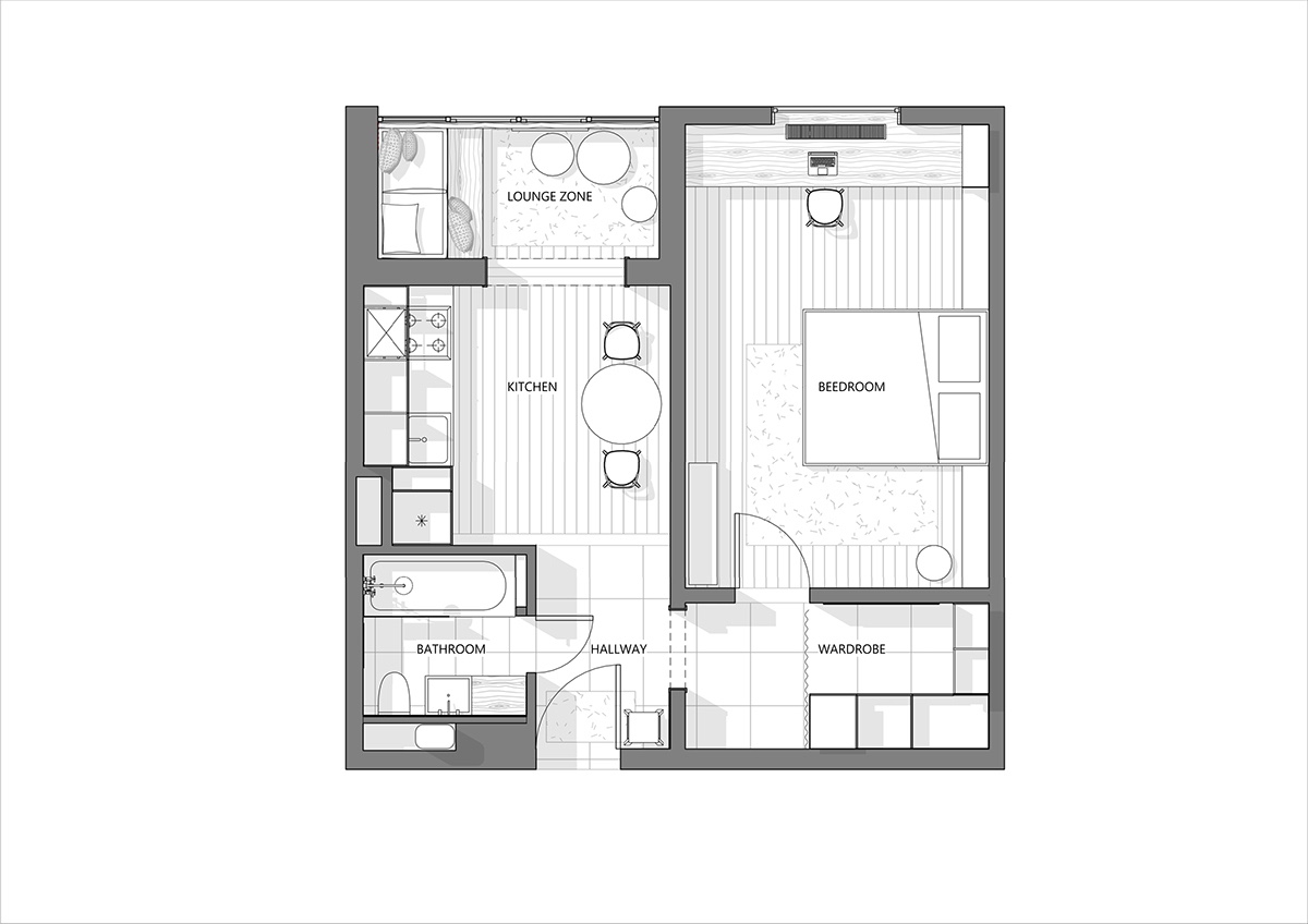 3 modern style apartments under 50 square meters includes for Walk up apartment floor plans