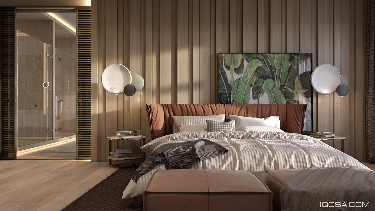 A sophisticated home with natural themes outside of kiev - Brown and green bedroom ...