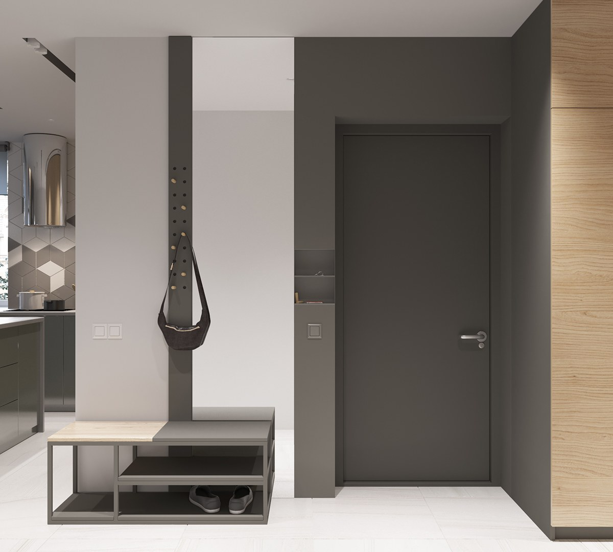 Gray Entryway Modern Coatrack - 2 stunningly beautiful homes decorated in modern scandinavian style