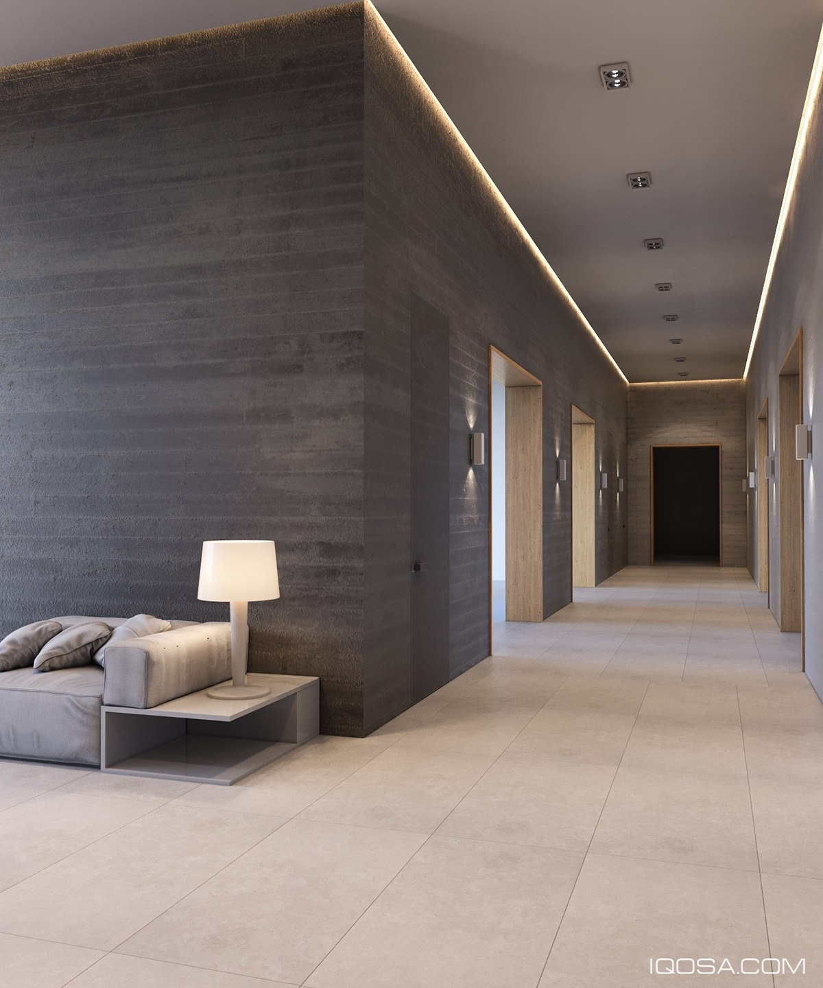 Imposing Concrete Clad Hallway Design - A sophisticated home with natural themes outside of kiev