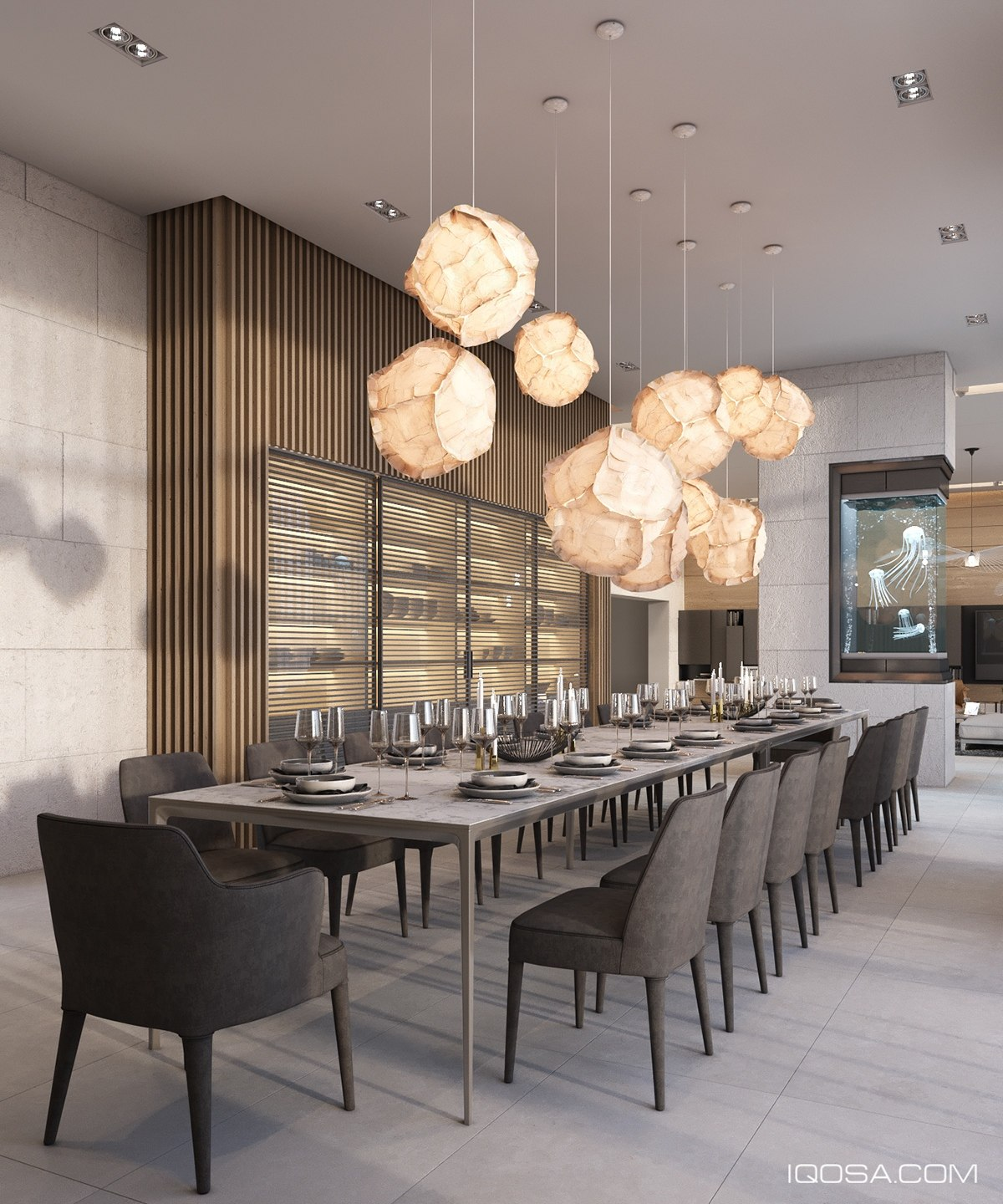 Impressive Dining Table With Jellyfish Aquarium - A sophisticated home with natural themes outside of kiev