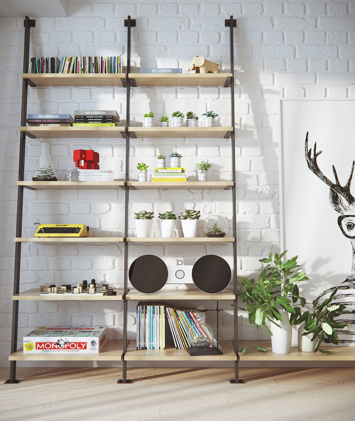 Industrial Bookshelves Greenery Stereo - 2 stunningly beautiful homes decorated in modern scandinavian style