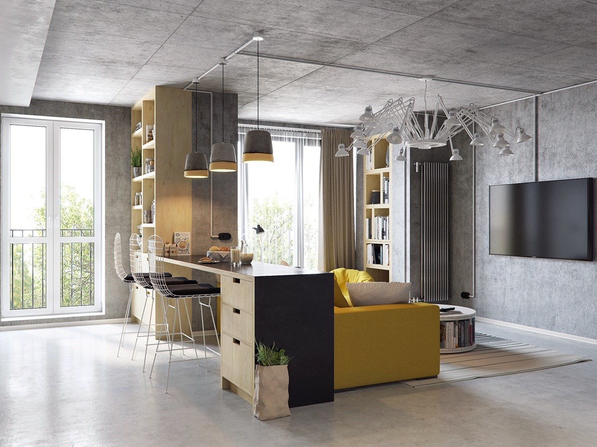 Kitchen Bar Yellow Couch White Lamp Light - 3 concrete lofts with wide open floor plans