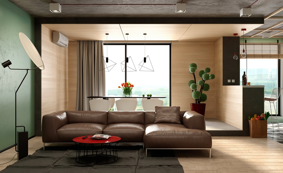 Three cozy colorful modern apartments Room visualizer furniture