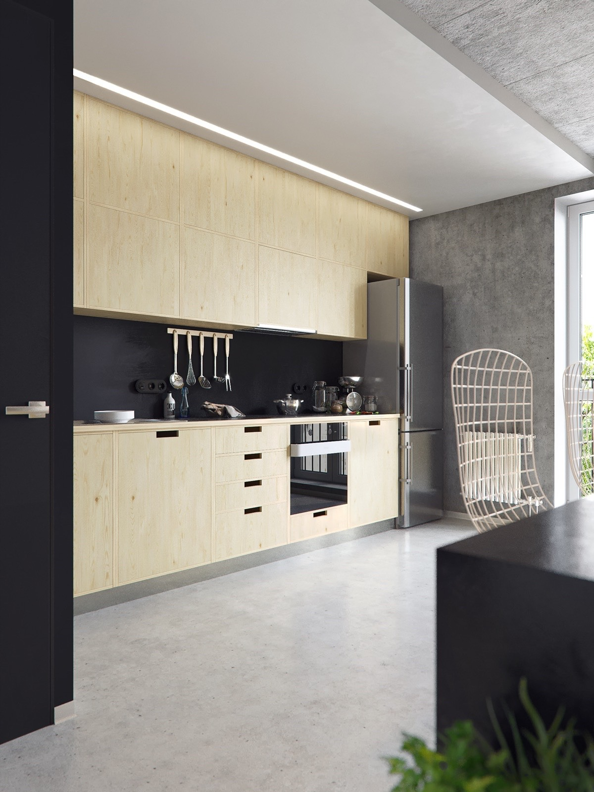 Light Wood Cabinets Kitchen Black Appliances - 3 concrete lofts with wide open floor plans