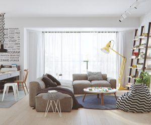 A bright and open floor plan is the perfect setting for the modern Scandinavian style. This room welcomes both a family room and an in-home office.
