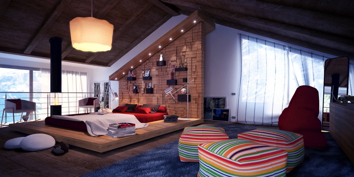 Loftlike Attic Angled Bookshelf - 25 amazing attic bedrooms that you would absolutely enjoy sleeping in