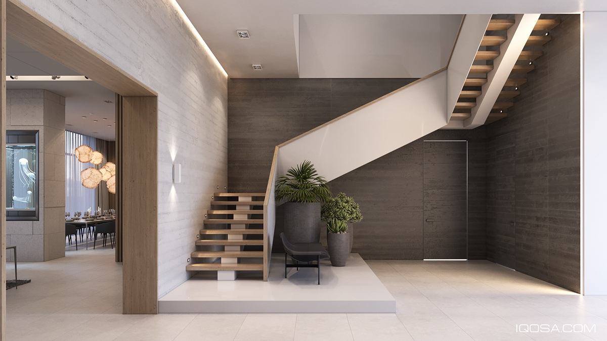 Modern Center Stringer Staircase - A sophisticated home with natural themes outside of kiev