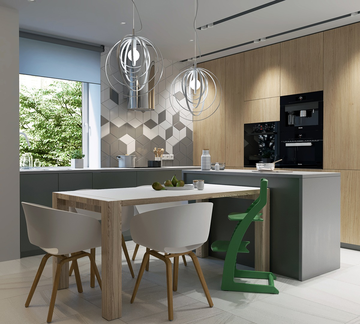 Modern Kitchen Wood Table Green Highchair Black Appliances - 2 stunningly beautiful homes decorated in modern scandinavian style