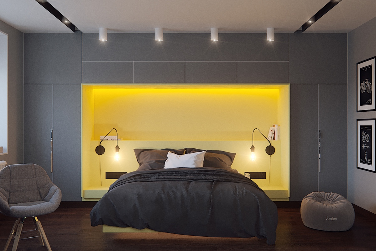 Grey bedrooms ideas to rock a great grey theme for Yellow grey bedroom designs