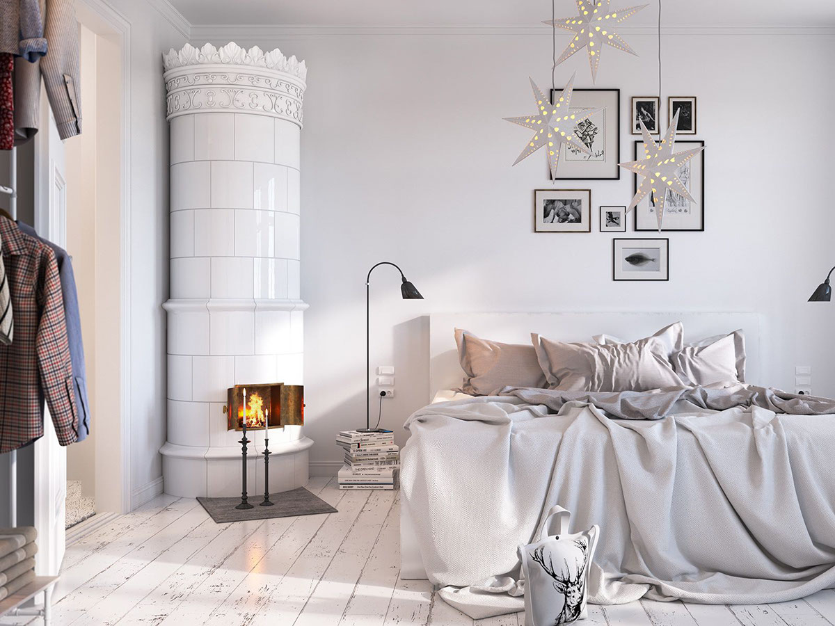 Ornate Nordic Porcelain Stove - Bright scandinavian decor in 3 small one bedroom apartments
