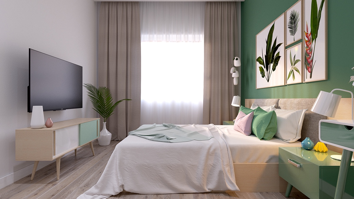 Pastel Colors Bedroom Bright Scandinavian Decor In 3 Small One Bedroom Apartments