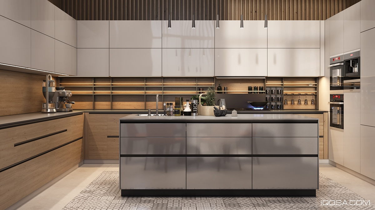 Reflective Cabinetry In Wood Kitchen - A sophisticated home with natural themes outside of kiev