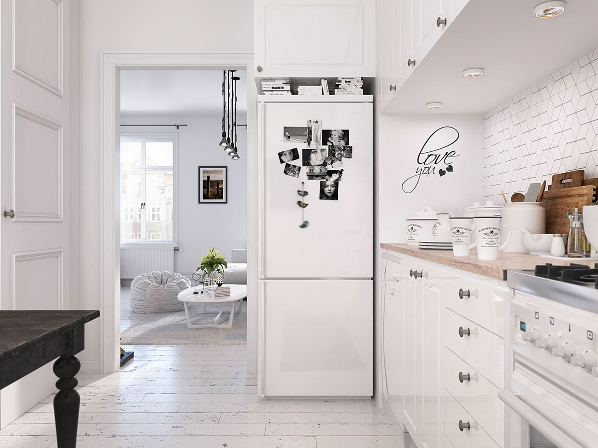 Refrigerator Collage Inspiration - Bright scandinavian decor in 3 small one bedroom apartments