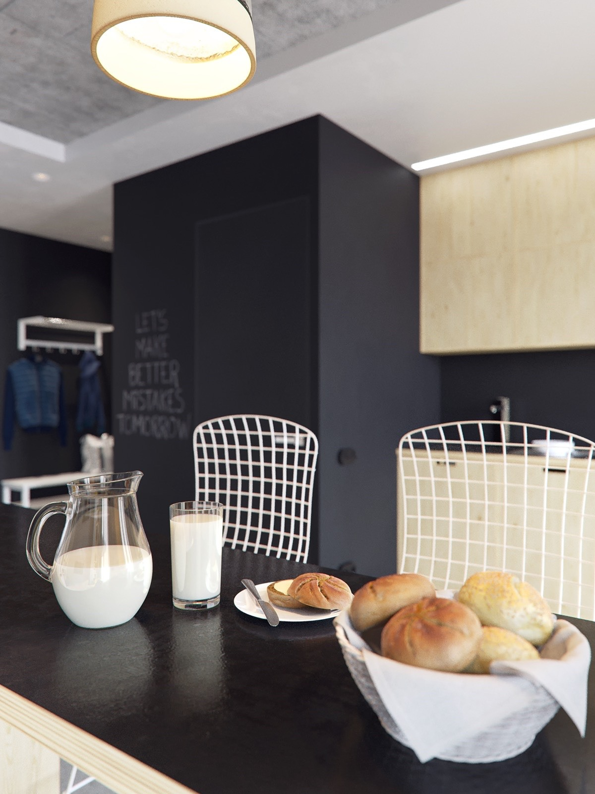 Rolls Milk On Bar Barstools Chalkboard Paint - 3 concrete lofts with wide open floor plans