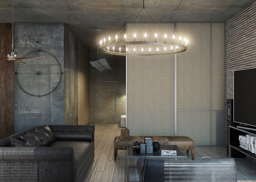 Round Light Fixture Living Room Black Couch Entryway - 3 concrete lofts with wide open floor plans