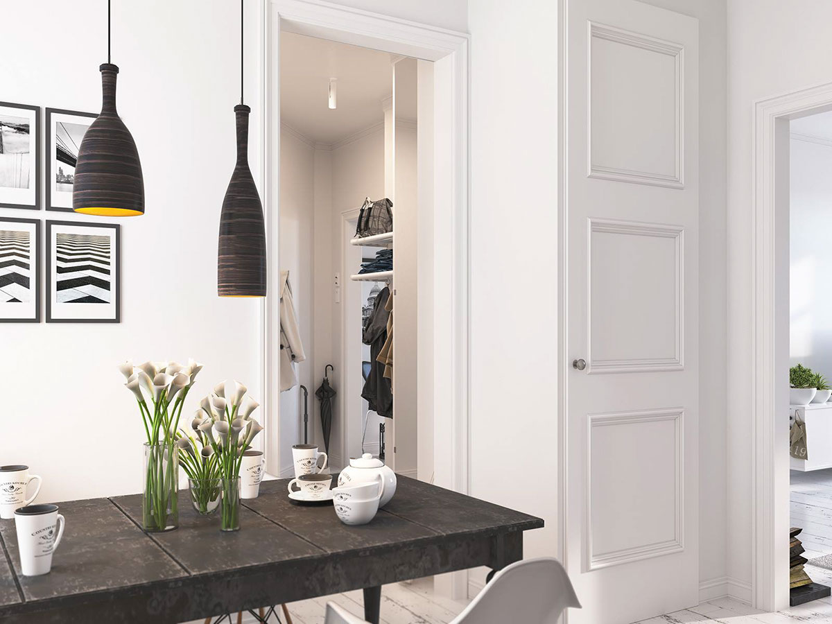 Simple Eat In Kitchen Design - Bright scandinavian decor in 3 small one bedroom apartments