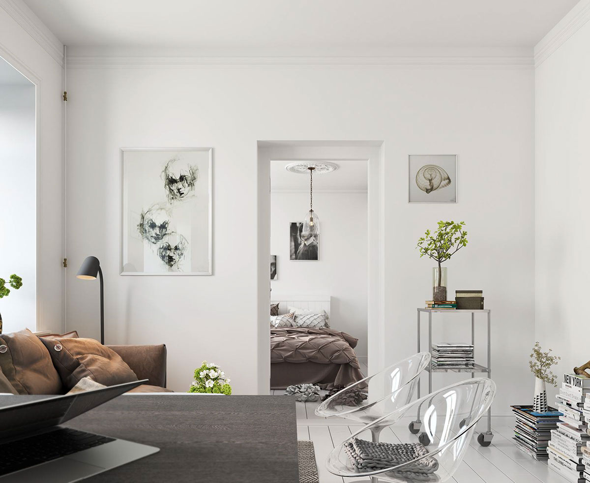 Bright Scandinavian Decor In 3 Small One-Bedroom Apartments