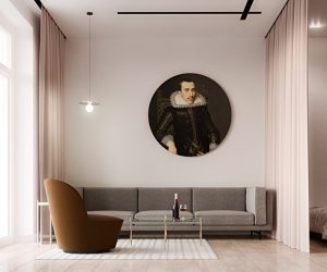 This spacious semi-studio apartment makes a bold statement through simple lines and smooth curves, especially regarding the artistic modern furniture. Although spare in terms of ornament, the living room centers on a single amazing portrait attributed to a Dutch Golden Age painter named Salomon Mesdach – its traditional style updated with a gorgeous circular form. The emphasis on geometry and simplicity definitely lends itself well to the Suprematist revival style.